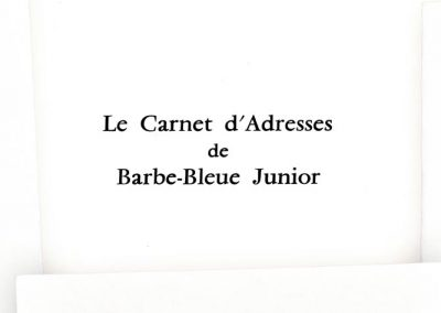 LE CARNET D'ADRESSE DE BARBE BLEUE JUNIOR